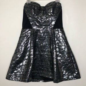 Bebe metallic silver fit and flare jacquard dress